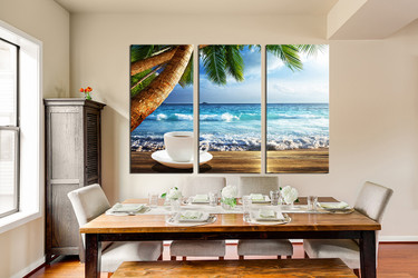 3 piece canvas print, dining room canvas art prints, ocean huge canvas art, cup plate multi panel art, kitchen photo canvas, sea art