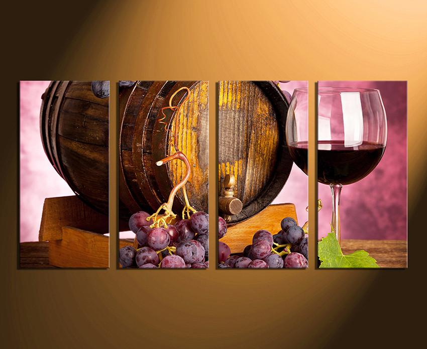 4 Piece Artwork, Wine Canvas Wall Art, Wine Glass Huge