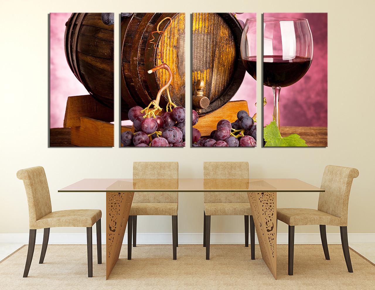 4 Piece Artwork Wine Canvas Wall Art Wine Glass Huge Canvas Print