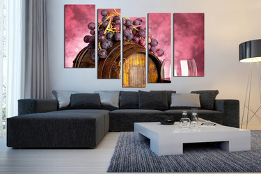 5 piece wall art, kitchen multi panel art, living room wall art, wine large pictures, fruits photo canvas