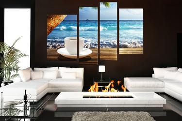 4 piece huge canvas print, living room canvas art prints, ocean artwork, cup plate wall decor, kitchen art, sea huge pictures