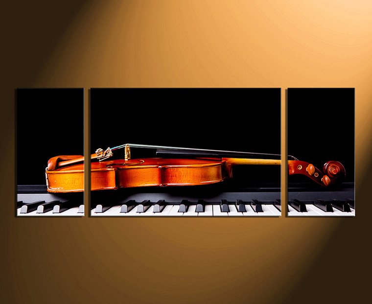 3 piece canvas wall art, home decor, violin canvas print, piano artwork, musical instruments huge pictures, brown panoramic canvas photography