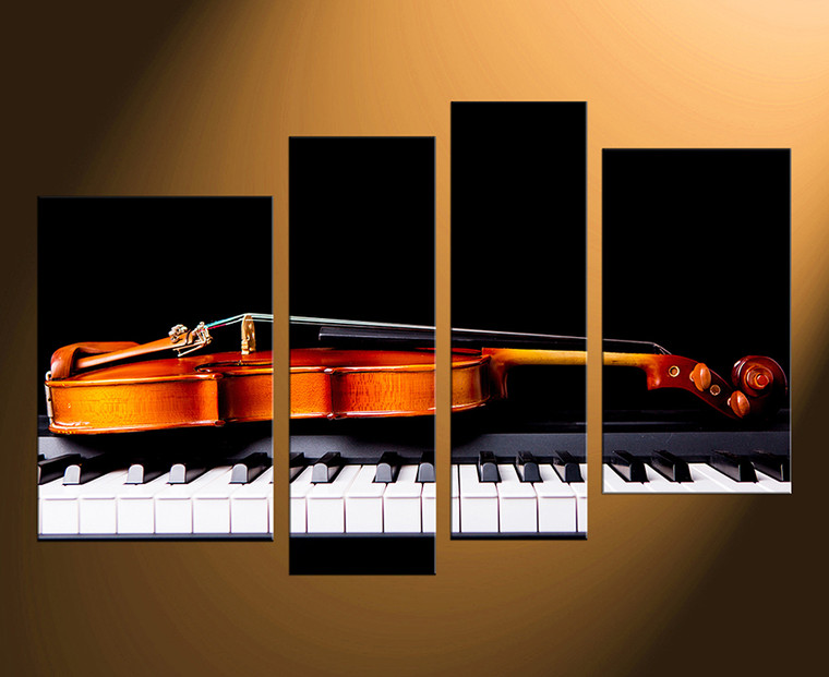 4 piece canvas wall art, home decor, violin huge pictures, piano artwork, brown musical instruments photo canvas