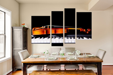 4 piece large canvas, dining room canvas print, violin huge canvas print, piano multi panel art, brown musical instruments canvas art prints