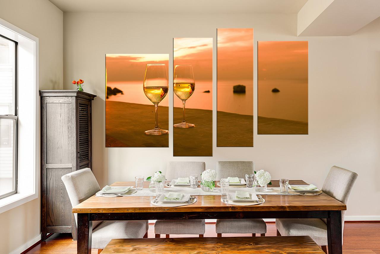 4 Piece Canvas Wall Art Wine Glass Huge Canvas Art Orange Multi