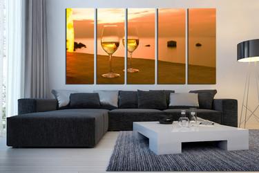 5 piece wall art, living room wall decor, wine multi panel art, glass canvas art, orange canvas print