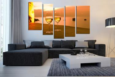 5 piece canvas art prints, living room wall decor, orange canvas print, wine art, glass art