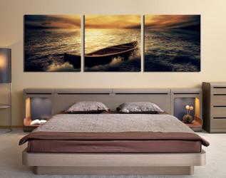 3 piece wall art, ocean pictures, bedroom wall decor, yellow art, boat huge pictures