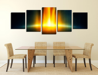 5 piece multi panel canvas, dining room canvas photography, yellow abstract wall art, abstract artwork