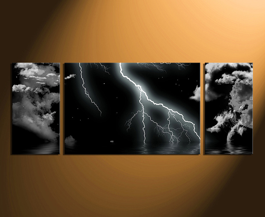 3 Piece Wall Art Modern Multi Panel Canvas Black And White Large Canvas Panoramic Group Canvas Thunderstorm Huge Canvas Art
