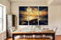 3 piece canvas art prints, dining room art, yellow sea large pictures, boat multi panel canvas, cloud pictures
