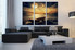 3 piece canvas wall art, living room artwork, ocean multi panel canvas, boat pictures, yellow huge canvas art