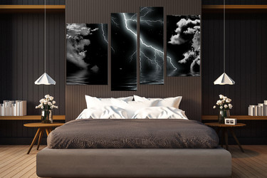 4 piece canvas wall art, abstract wall art, black abstract multi panel canvas, thunderstorm artwork