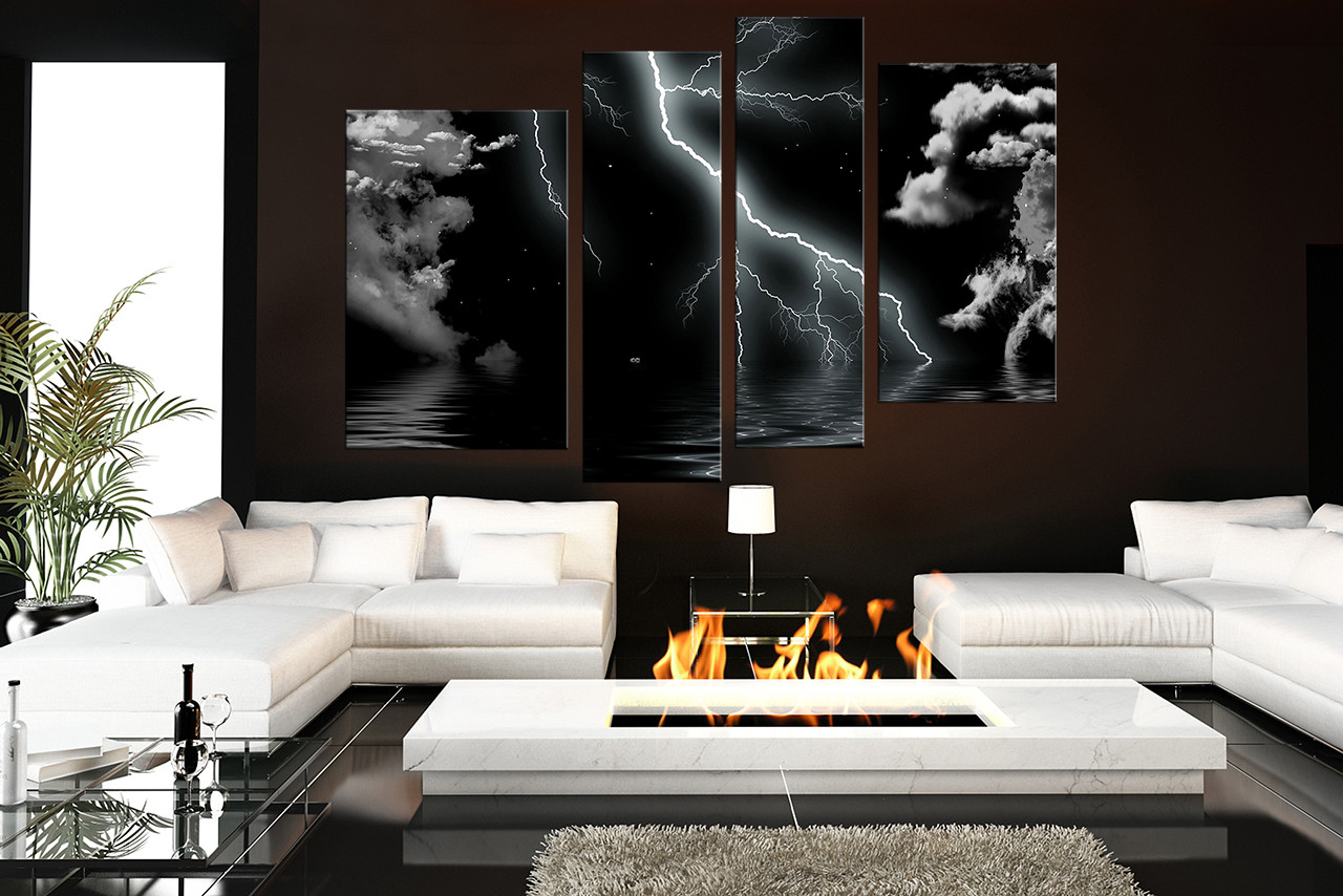 4 Piece Multi Panel Art Thunderstorm Canvas Wall Art Modern Huge Canvas Print Cloud Artwork Black And White Canvas Photography