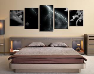 5 piece large pictures, thunderstorm  art, bedroom multi panel art, black modern photo canvas, modern artwork