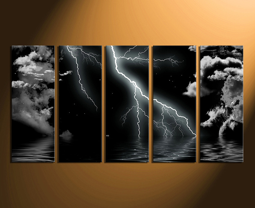 5 Piece Multi Panel Canvas Black And White Canvas Photography Modern Canvas Wall Art Thunderstorm Huge Canvas Print Cloud Artwork