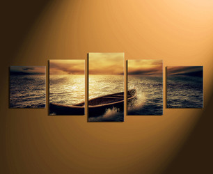 5 piece group canvas,  home decor,  panoramic canvas wall art, yellow ocean huge canvas art, boat pictures