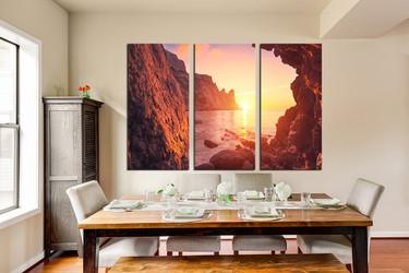3 piece canvas art prints, dining room decor, orange ocean huge pictures, mountain canvas photography, sunrise art