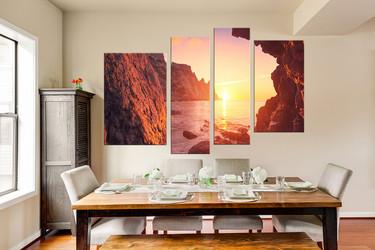 4 piece canvas art prints, dining room art, orange sea canvas art prints, sunrise canvas wall art, landscape decor