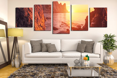 5 piece canvas wall art, living room huge pictures, orange sea photo canvas, landscape canvas wall art, mountain large pictures