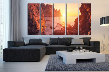 5 piece canvas wall art, living room artwork, orange sunrise artwork, mountain huge canvas art, ocean wall decor