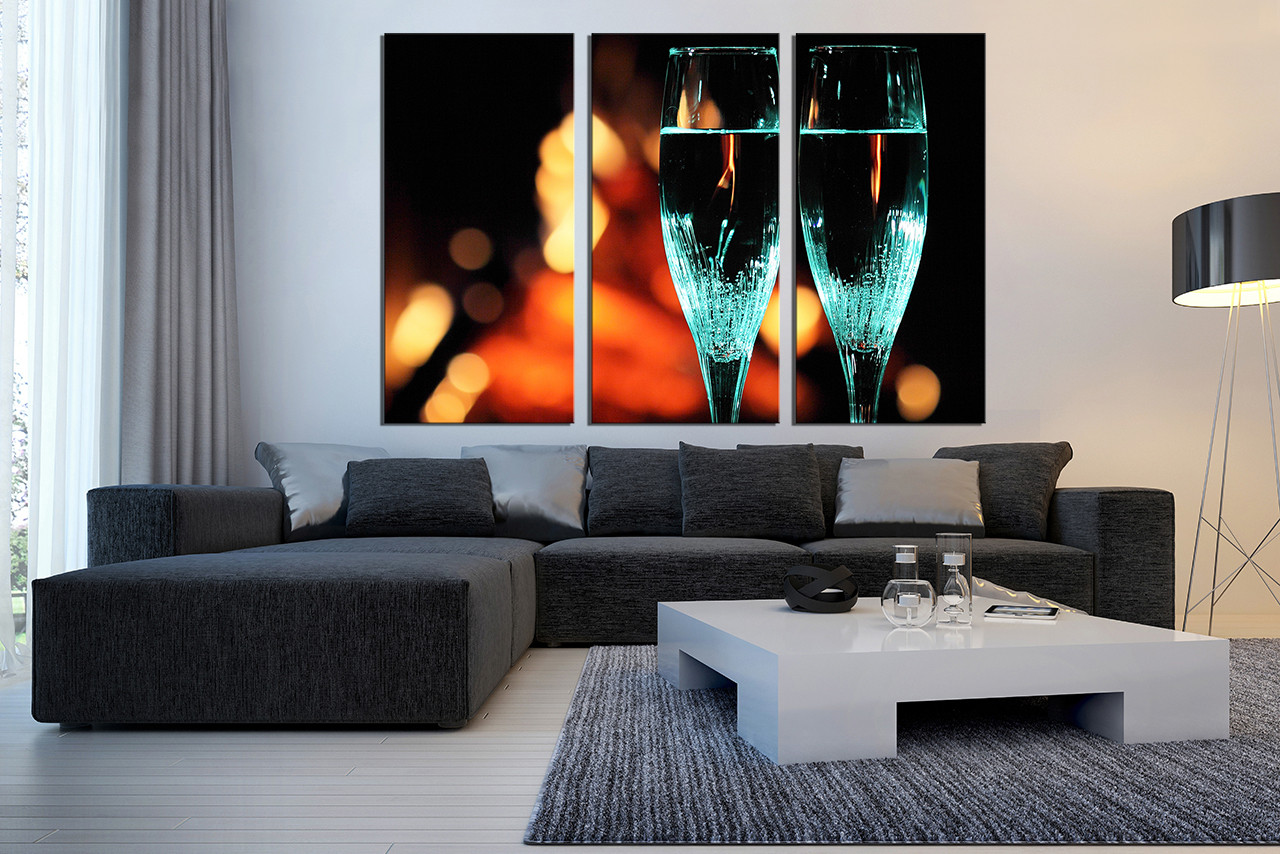 3 Piece Canvas Wall Art Flute Glass Canvas Print Champagne Huge