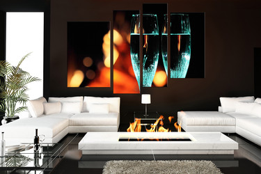 4 piece canvas photography, living room canvas art prints, flute wall decor, champagne photo canvas, blue drinks huge pictures