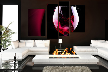 4 piece wall deor, living room wall art, kitchen multi panel art, wine large pictures, wine glass landscape photo canvas