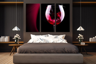 3 piece canvas wall art, wine multi panel canvas, kitchen large pictures, bedroom wall decor