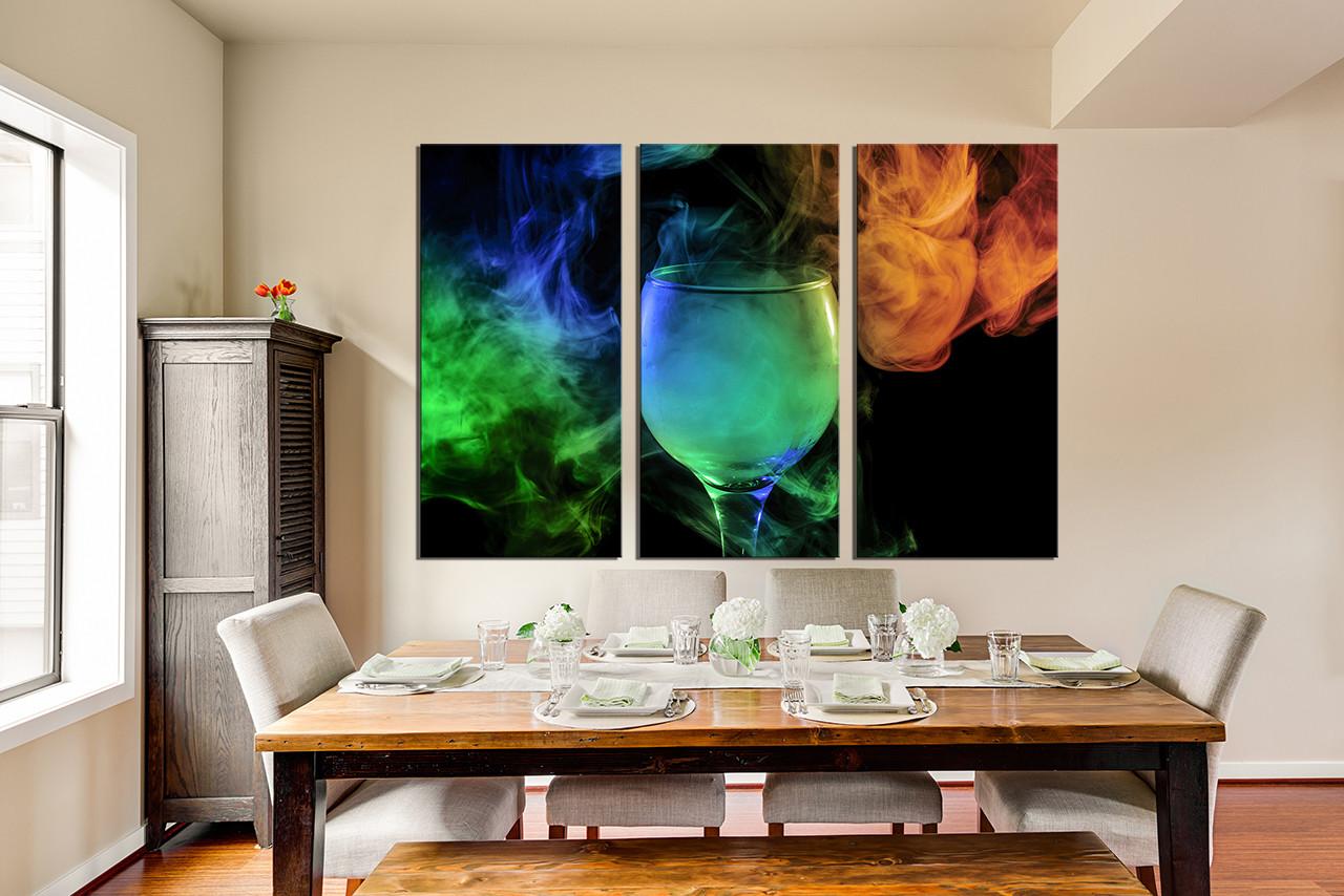 3 Piece Canvas Wall Art Wine Glass Huge Canvas Print Green Canvas