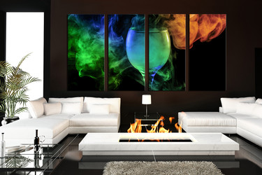 4 piece huge pictures, living room wall art, kitchen multi panel canvas, wine large pictures, green canvas prints