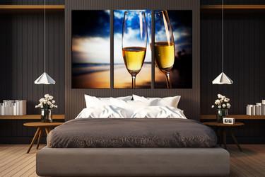 3 piece huge canvas print, bedroom wall art, champagne glasses group canvas, blue artwork, drinks canvas art prints