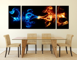 3 piece canvas art prints, modern canvas print, modern wall art, blue abstract canvas wall art, dining room decor