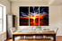 3 piece multi panel canvas, dining room canvas photography, orange abstract wall art, abstract artwork