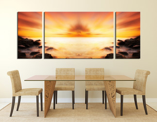 3 piece canvas art prints, dining room wall decor, orange ocean artwork, landscape multi panel canvas