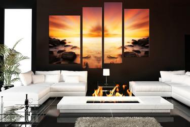 4 piece wall decor, living room canvas print, ocean multi panel art, orange ocean wall art, landscape art
