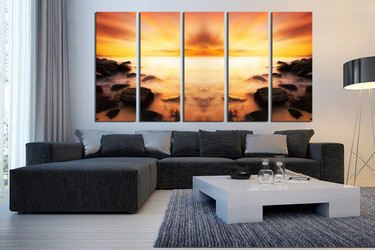 5 piece artwork, living room huge canvas print, orange large pictures, ocean canvas photography, rock multi panel art