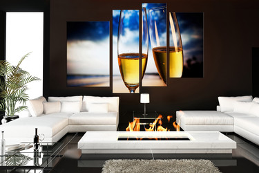 4 piece large pictures, living room canvas art prints, champagne glasses multi panel art, blue wall decor, drinks huge canvas art