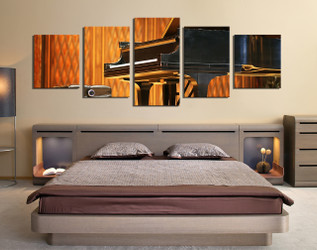 5 piece canvas art prints, grand piano group canvas, panoramic artwork, orange canvas photography, bedroom wall art
