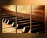 3 piece canvas wall art,  home decor, grand piano multi panel canvas, brown canvas art, music group canvas