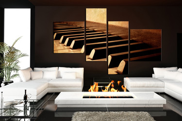 4 piece art, grand piano canvas print, brown huge pictures, music instrument multi panel canvas