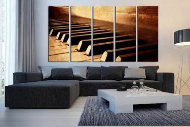 5 piece wall art, grand piano multi panel canvas, brown notes wall art, music instrument huge pictures