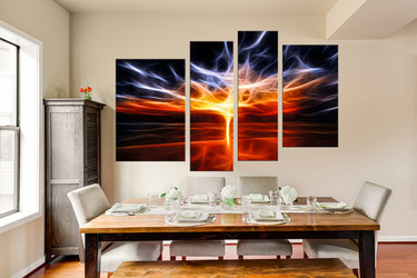 4 piece  photo canvas, dining room art, modern artwork, orange large pictures, abstract huge pictures