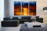 3 piece canvas wall art, abstract multi panel canvas, abstract art, orange  large pictures, living room decor