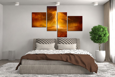 4 piece wall art, abstract multi panel art, abstract wall decor, thunderstorm  pictures, abstract wall art, bedroom wall decor
