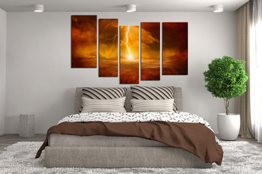 5 piece wall art, abstract wall art, orange wall decor, modern huge pictures, bedroom decor