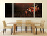 3 piece multi panel art, dining room huge canvas print, grand piano art, brown musical instrument wall decor, music canvas wall art
