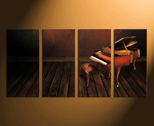 4 piece canvas wall art, home decor, grand piano canvas print, music huge canvas art, brown musical instrument artwork