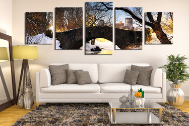 5 piece large canvas , scenery canvas print, tree huge canvas art, living room artwork, snow panoramic huge pictures