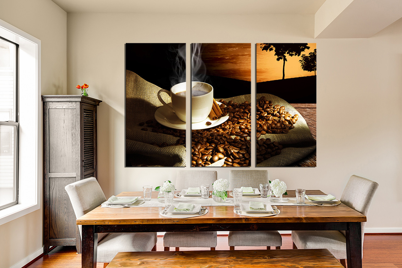 3 Piece Canvas Wall Art Coffee Beans Large Pictures Coffee Multi Panel Canvas Cup Plate Canvas Photography Brown Canvas Art Prints